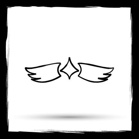 interface scheme: Wings icon. Internet button on white background. Outline design imitating paintbrush. Stock Photo