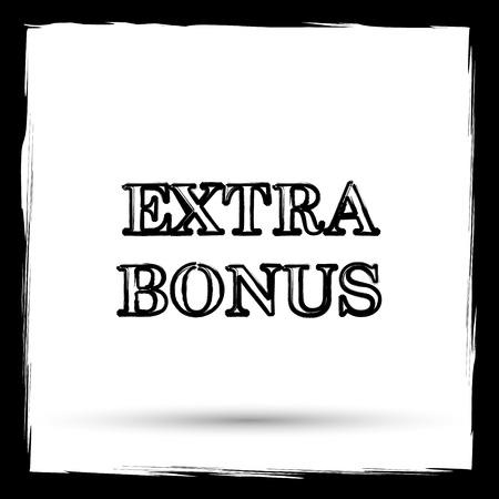 Extra bonus icon. Internet button on white background. Outline design imitating paintbrush.