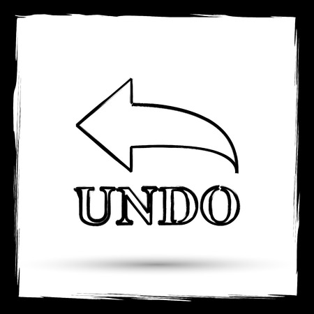 undo: Undo icon. Internet button on white background. Outline design imitating paintbrush.