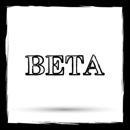 beta: Beta icon. Internet button on white background. Outline design imitating paintbrush. Stock Photo