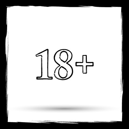 information technology law: 18 plus icon. Internet button on white background. Outline design imitating paintbrush. Stock Photo
