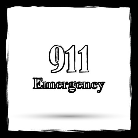 bad service: 911 Emergency icon. Internet button on white background. Outline design imitating paintbrush. Stock Photo