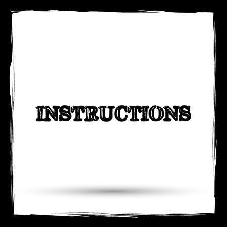 instructional: Instructions icon. Internet button on white background. Outline design imitating paintbrush.