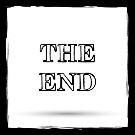 story time: The End icon. Internet button on white background. Outline design imitating paintbrush.
