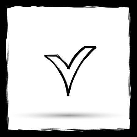 answer approve of: V checked icon. Internet button on white background. Outline design imitating paintbrush. Stock Photo
