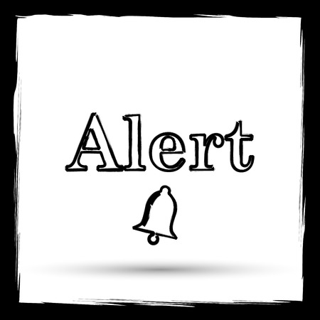 peril: Alert icon. Internet button on white background. Outline design imitating paintbrush.
