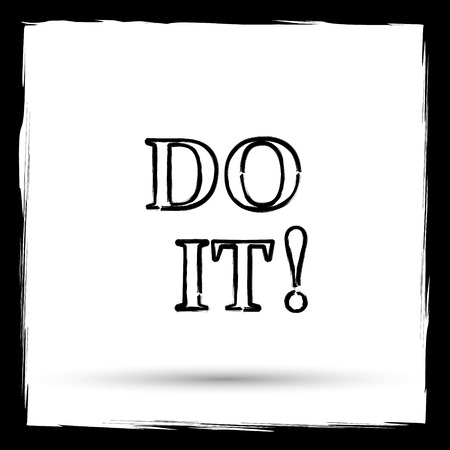 just do it: Do it icon. Internet button on white background. Outline design imitating paintbrush.