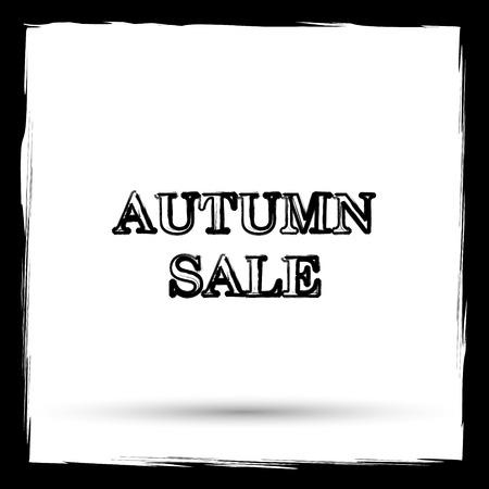 shoppers: Autumn sale icon. Internet button on white background. Outline design imitating paintbrush.
