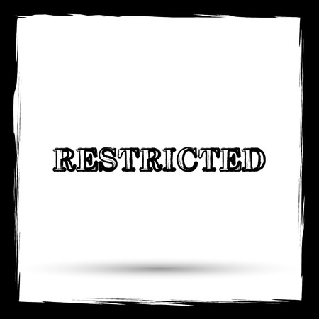 abstain: Restricted icon. Internet button on white background. Outline design imitating paintbrush.