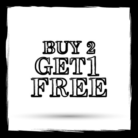 free offer: Buy 2 get 1 free offer icon. Internet button on white background. Outline design imitating paintbrush.