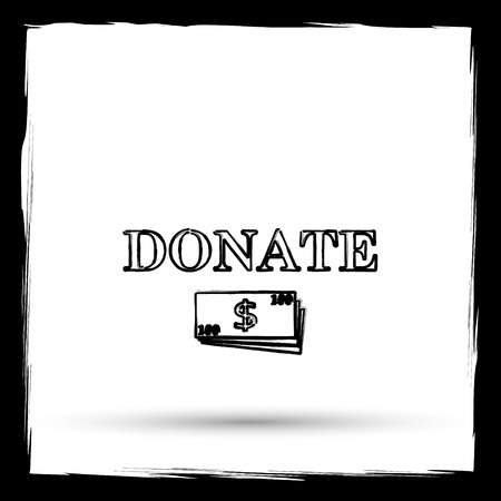 aiding: Donate icon. Internet button on white background. Outline design imitating paintbrush. Stock Photo