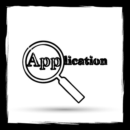 requisition: Application icon. Internet button on white background. Outline design imitating paintbrush. Stock Photo
