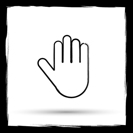 restrictive: Stop icon. Internet button on white background. Outline design imitating paintbrush. Stock Photo