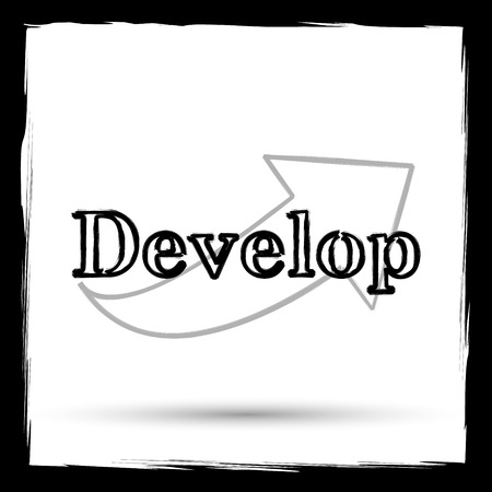 develop: Develop icon. Internet button on white background. Outline design imitating paintbrush. Stock Photo