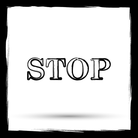 run off: Stop icon. Internet button on white background. Outline design imitating paintbrush. Stock Photo