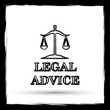 punish: Legal advice icon. Internet button on white background. Outline design imitating paintbrush.