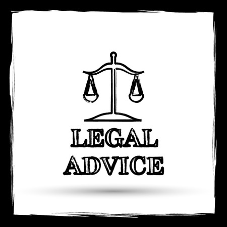 truthfulness: Legal advice icon. Internet button on white background. Outline design imitating paintbrush.