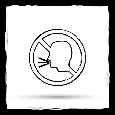 no talking: No talking icon. Internet button on white background. Outline design imitating paintbrush. Stock Photo