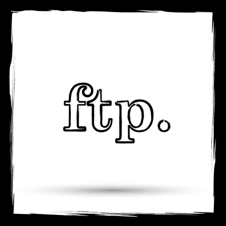 ftp: ftp. icon. Internet button on white background. Outline design imitating paintbrush. Stock Photo