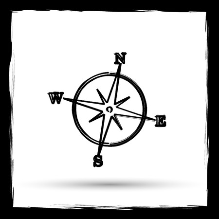geodesy: Compass icon. Internet button on white background. Outline design imitating paintbrush. Stock Photo