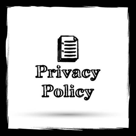 Privacy policy icon. Internet button on white background. Outline design imitating paintbrush.