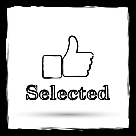 selected: Selected icon. Internet button on white background. Outline design imitating paintbrush.