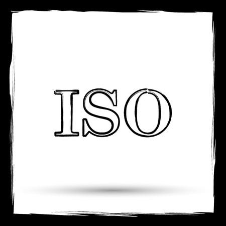 norm: ISO icon. Internet button on white background. Outline design imitating paintbrush. Stock Photo