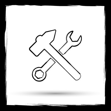 fitter: Tools  icon. Internet button on white background. Outline design imitating paintbrush.