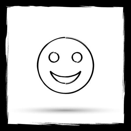 smily: Smiley icon. Internet button on white background. Outline design imitating paintbrush.