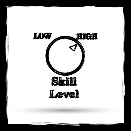 Skill level icon. Internet button on white background. Outline design imitating paintbrush.