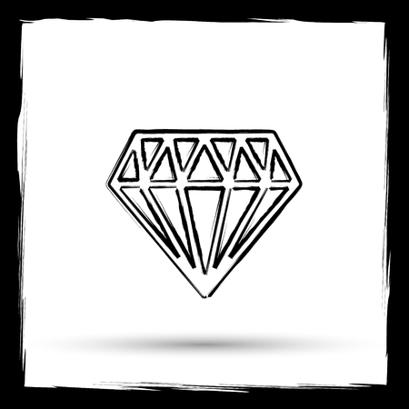 unbreakable: Diamond icon. Internet button on white background. Outline design imitating paintbrush.