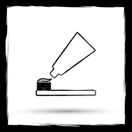 toothbrushing: Tooth paste and brush icon. Internet button on white background. Outline design imitating paintbrush.
