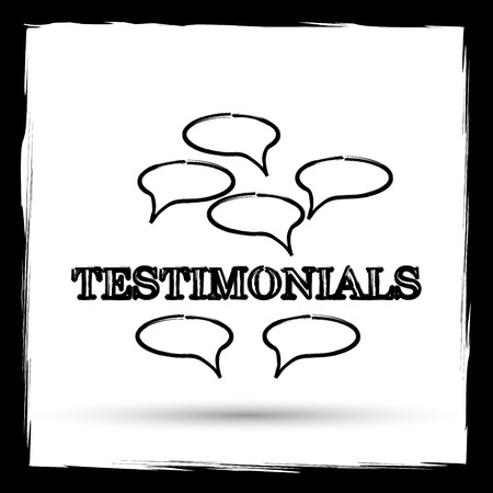 authenticate: Testimonials icon. Internet button on white background. Outline design imitating paintbrush.