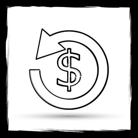 restitution: Refund icon. Internet button on white background. Outline design imitating paintbrush. Stock Photo