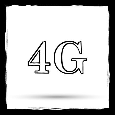 4g: 4G icon. Internet button on white background. Outline design imitating paintbrush. Stock Photo