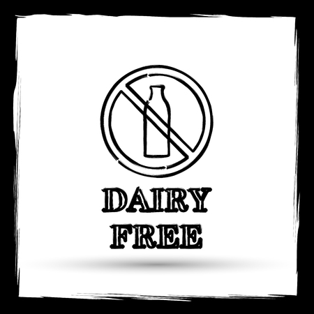 intolerant: Dairy free icon. Internet button on white background. Outline design imitating paintbrush. Stock Photo
