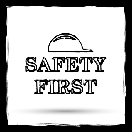 cautionary: Safety first icon. Internet button on white background. Outline design imitating paintbrush. Stock Photo