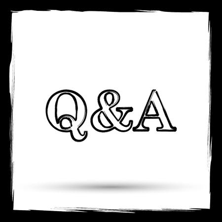 qa: Q&A icon. Internet button on white background. Outline design imitating paintbrush.