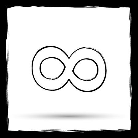 Infinity sign icon. Internet button on white background. Outline design imitating paintbrush.