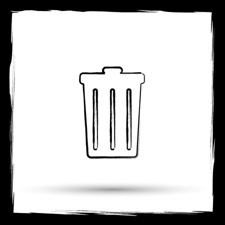 dumping: Bin icon. Internet button on white background. Outline design imitating paintbrush.