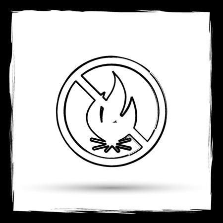 smoke alarm: Fire forbidden icon. Internet button on white background. Outline design imitating paintbrush.