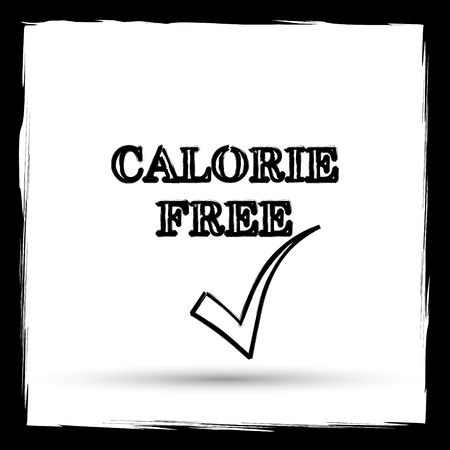 calorie: Calorie free icon. Internet button on white background. Outline design imitating paintbrush.