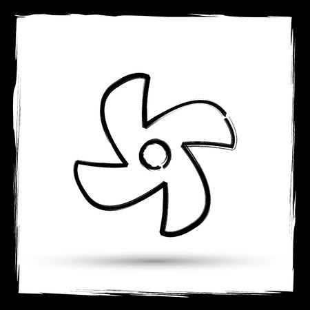 conditioned: Fan icon. Internet button on white background. Outline design imitating paintbrush.