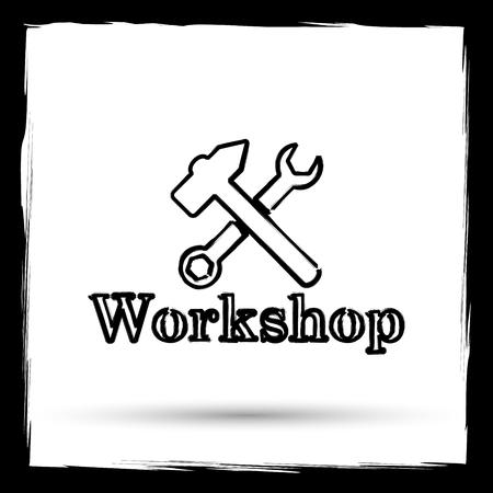 course development: Workshop icon. Internet button on white background. Outline design imitating paintbrush.