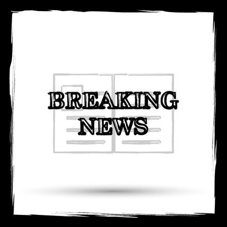 newsflash: Breaking news icon. Internet button on white background. Outline design imitating paintbrush. Stock Photo