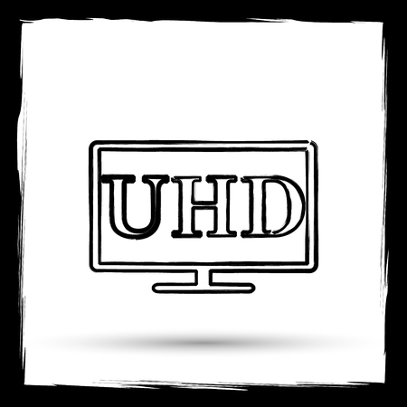 ultra: Ultra HD icon. Internet button on white background. Outline design imitating paintbrush.