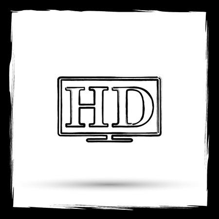 hd tv: HD TV icon. Internet button on white background. Outline design imitating paintbrush. Stock Photo
