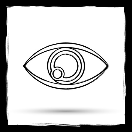 see a doctor: Eye icon. Internet button on white background. Outline design imitating paintbrush.