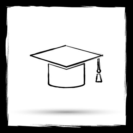 doctorate: Graduation icon. Internet button on white background. Outline design imitating paintbrush.