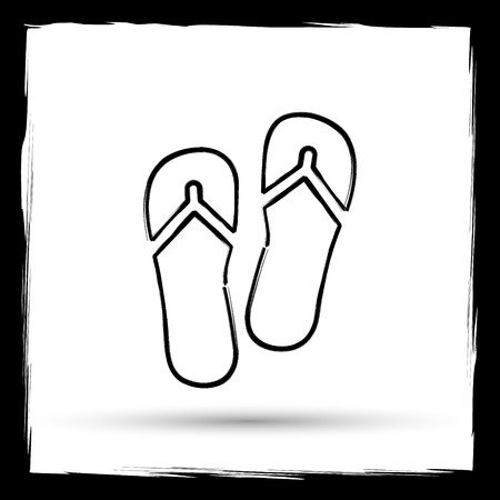 sand beach: Slippers icon. Internet button on white background. Outline design imitating paintbrush.